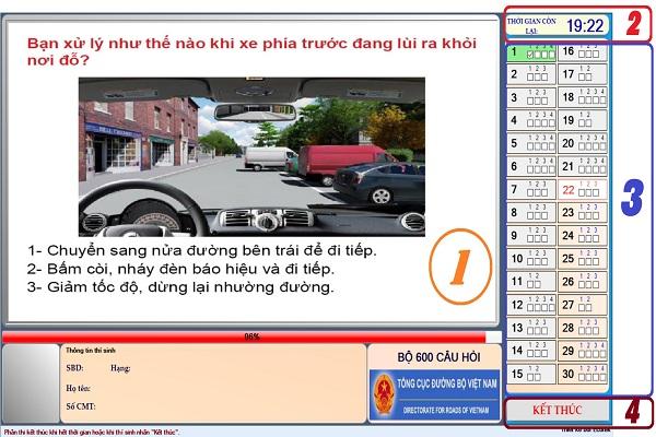 giao diện phần mềm 600 câu hỏi thi sát hạch lái xe
